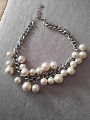 Collier de perles argenté-blanc cassé