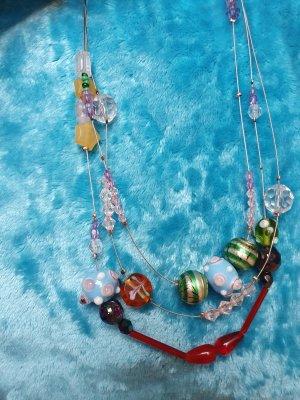 Collier incrusté de pierres multicolore tissu mixte