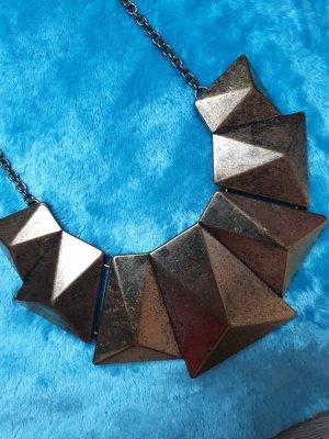 Collier incrusté de pierres bronze-doré tissu mixte