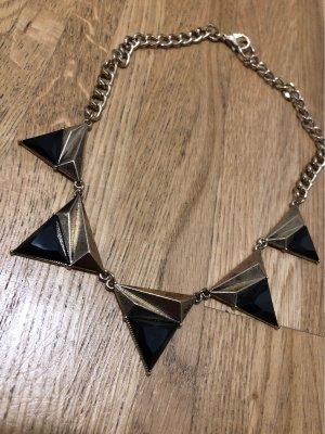 Statement Kette schwarz gold mit Dreiecken