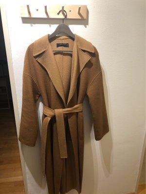 Zara Woman Wełniany płaszcz camel-beżowy