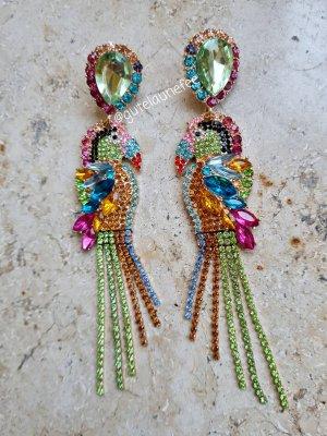 Statement Ohrhänger mit bunten Kristallglasssteinchen * Paradiesvogel