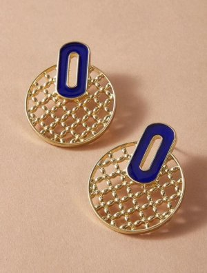Statement Earrings gold-colored-blue