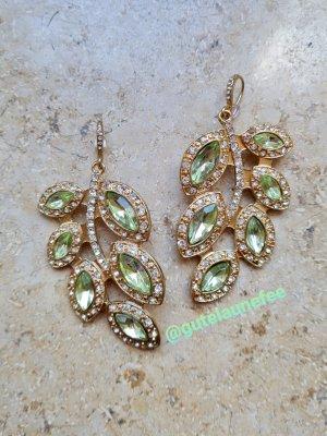 Asos Boucle d'oreille incrustée de pierres doré-vert gazon