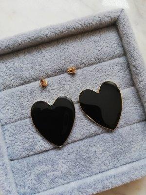 Statement oorbellen zwart-goud Metaal