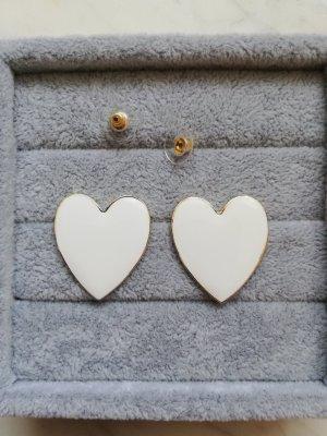 Statement oorbellen wit-goud Metaal