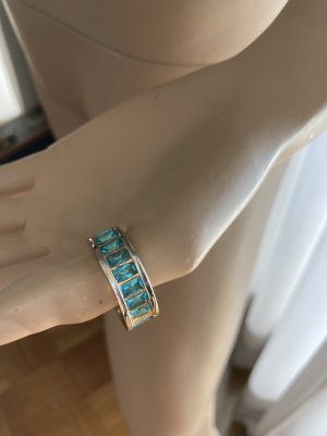 Statement Ring mit blauen Steinen goldfarben Gr 59