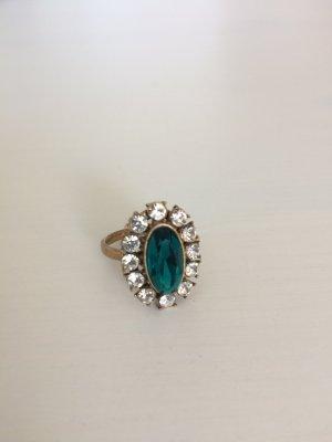 Statement Ring mit grünem Stein