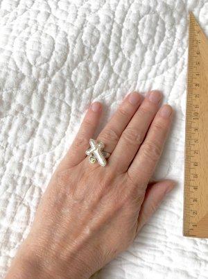 Statement Ring _ Silber, Peridot, Perlmut