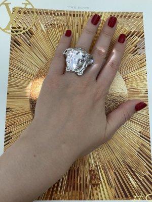 Versace Zdobiony pierścionek srebrny