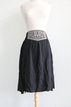 C&A Jupe taille haute noir-blanc viscose