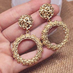 Statement runde Zara Boho Ohrringe, goldfarben, geometrisch, strukturiert, NEU