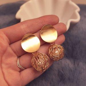 Statement runde Zara Boho Ohrringe, goldfarben, geometrisch, verziert mit Perle, NEU