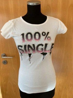 Statement T-Shirt, 100% Single, weiß, silber Glitzer, Gr. S/M
