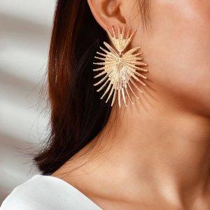 Statement Zara Boho gold große Ohrringe mit Zacken, geometrisch, neu