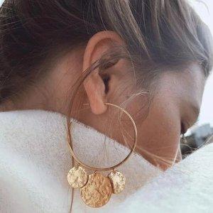 Statement Zara Boho gold Ohrringe, Creolen, rund, Münzendetail, geometrisch, sommerlich, neu