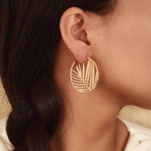 Statement Zara Boho gold runde Ohrringe im Blattdesign, geometrisch Creolen, neu