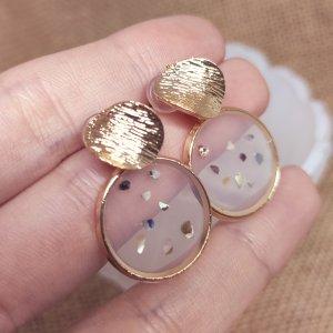 Statement Zara Boho gold runde Ohrringe mit Acrylglasdetail, geometrisch, verziert, neu