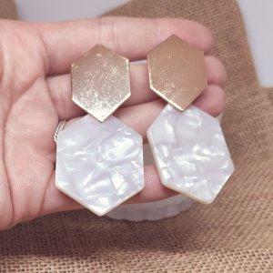 Statement Zara Boho gold sechseckige Ohrringe im Marmordesign, geometrisch, neu