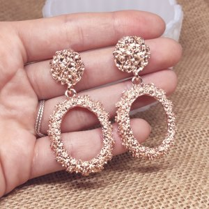 Statement Zara Boho rosegold strukturierte ovale Ohrringe, geometrisch, neu