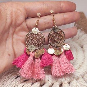 Statement Zara - gold/ pink-rose Boho Quastenohrringe, Fransen mit Münzendetail, verziert, neu