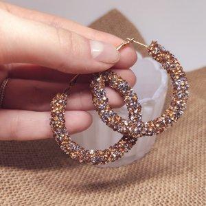 Statement Zara Ohrringe, Boho gold-silber Glitzer Creolen, Hoop Earrings, NEU