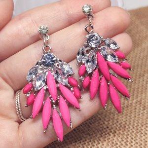 Statement Zara - silber/ pink Boho Zackenohrringe mit Steinen, neu