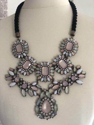 Zara Zdobiony naszyjnik srebrny-jasny różowy