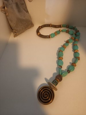 Leather Bracelet bronze-colored-turquoise