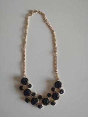 H&M Collier incrusté de pierres noir-doré