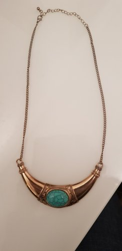 Primark Statement Necklace gold-colored-turquoise