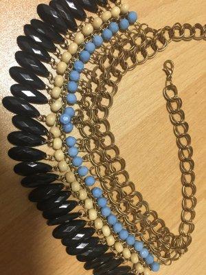 Statementkette Halskette Kette Gold Modeschmuck Beads blau schwarz Perlen