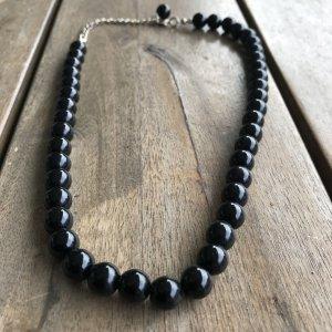 Statementkette Halskette Statement Kette mega Perlenkette Perle Perlen schwarz Kette Collier super Zustand