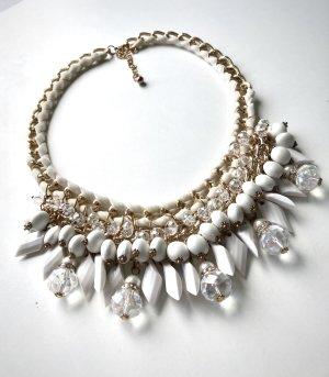 Statementkette Halskette weiß gold creme