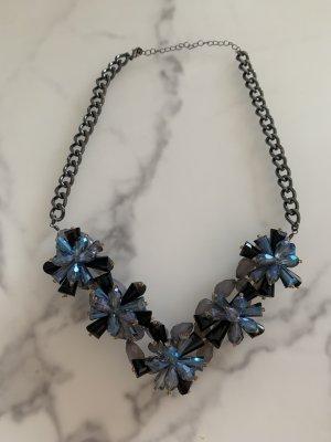 Collier incrusté de pierres noir-bleu