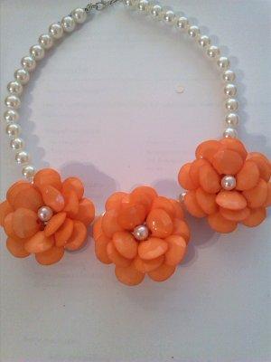 Collier incrusté de pierres blanc-orange