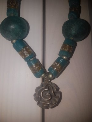 Statementkette - Perlenkette - Boho - Vintagekette - 925er Silberanhänger *LETZTE REDUZIERUNG*
