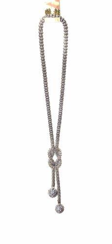 0039 Italy Zdobiony naszyjnik szary-srebrny