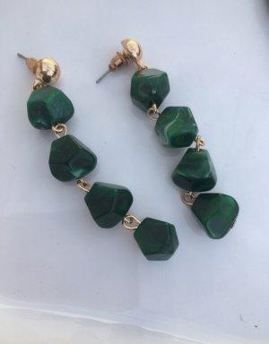 Accessorize Boucle d'oreille incrustée de pierres doré-vert foncé