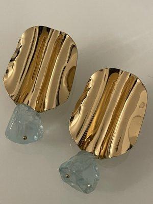 statementohrringe in gold mit türkisem stein, auffällig groß