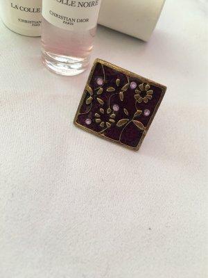 Bijou Brigitte Anillo de cuentas violeta amarronado-color bronce
