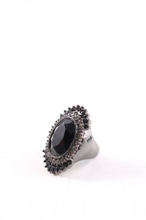 Statement Ring silver-colored-black elegant