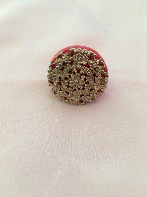 H&M Bague incrustée de pierres doré-rouge clair
