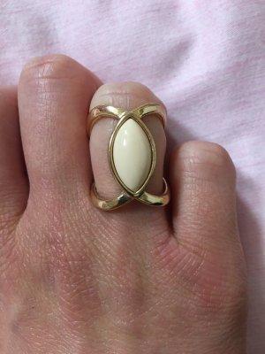 Takko Zdobiony pierścionek złoto-jasnobeżowy