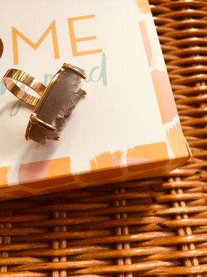 H&M Statement Ring silver-colored-sand brown mixture fibre