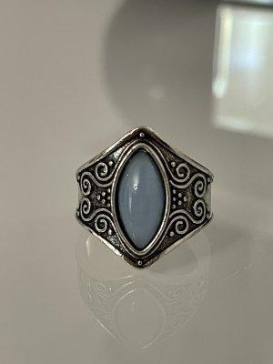 statementring in silber mit blauem stein 20 mm