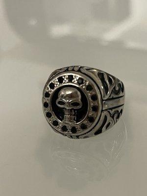 Statement ring zilver-zwart
