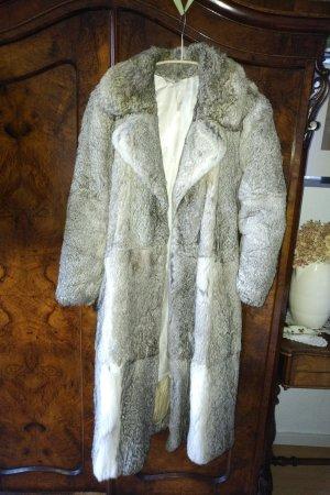 unbekannte Manteau de fourrure gris clair-blanc cassé tissu mixte