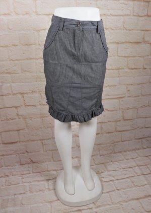 Steampunk Minirock Rock Pencil Skirt N.T.S. Größe S 36 Grau Streifen Rüschen Patchwork