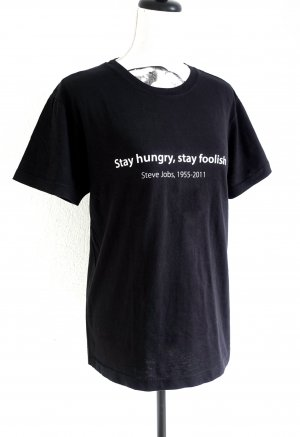 Stedman STEVE JOBS Shirt Top T-Shirt black – Stay hungry, stay foolish – S
